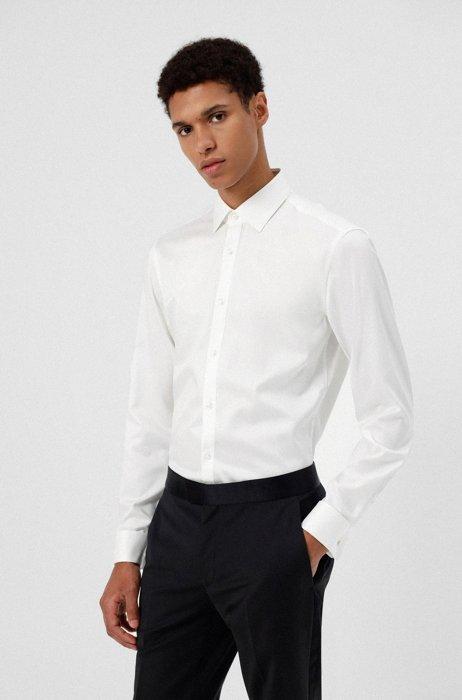 Chemise Slim Fit en twill de coton facile à repasser, Blanc