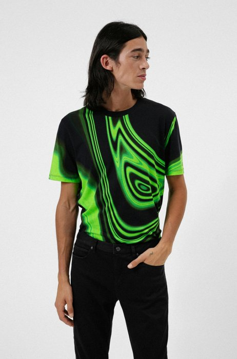 T-Shirt aus merzerisierter Baumwolle mit Rundhalsausschnitt und Glitch-Print, Schwarz