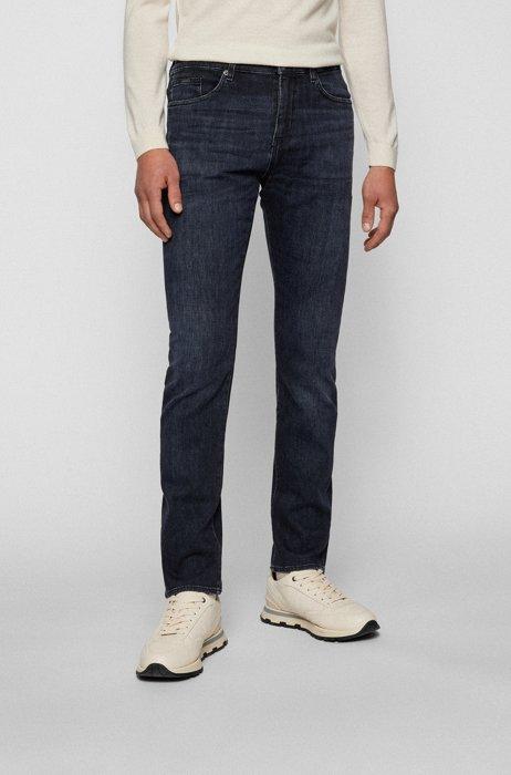Jeans slim fit in morbidissimo denim italiano nero, Blu scuro