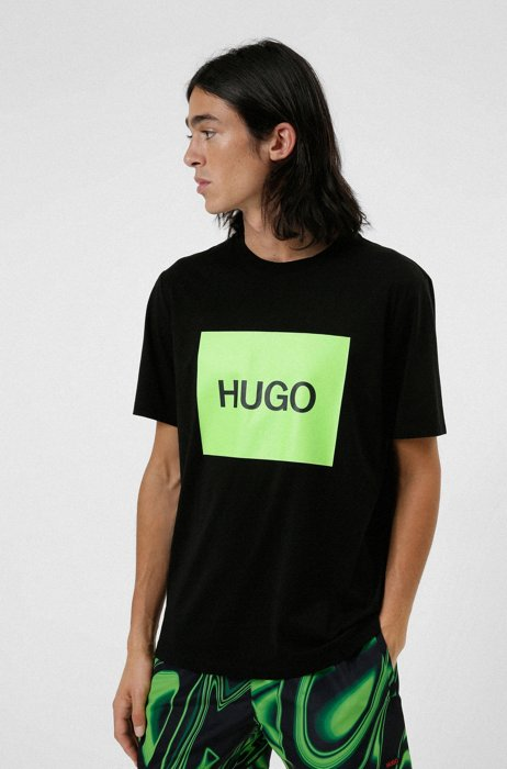 T-shirt in cotone con toppa del logo stampata oversize, Nero