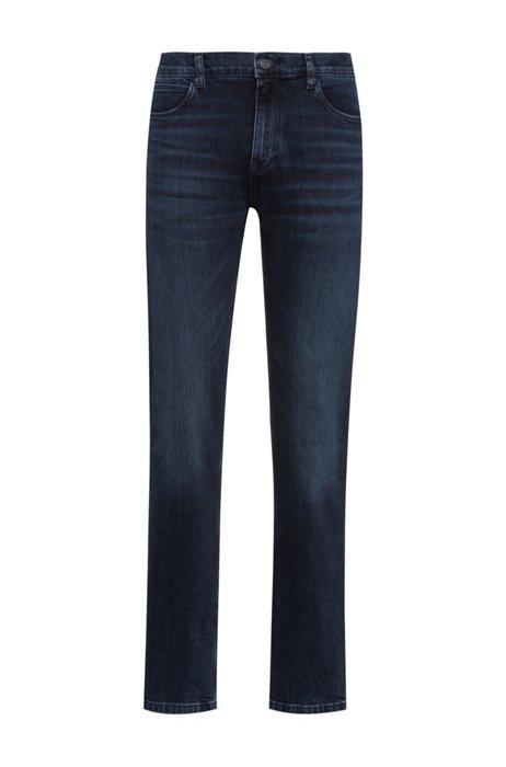 Slim-fit jeans van blauw-zwart comfortabel stretchdenim, Donkerblauw