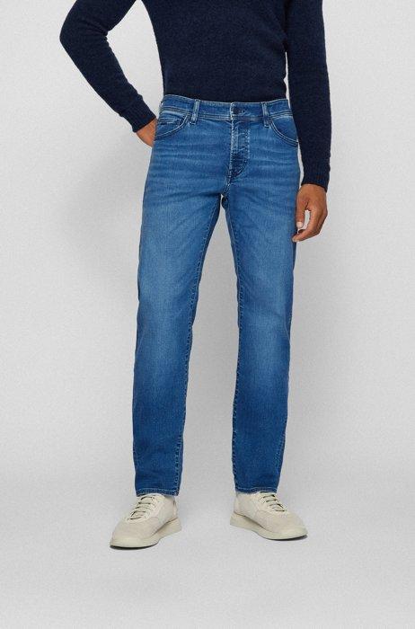 Jeans regular fit in comodo denim elasticizzato blu scuro, Blu