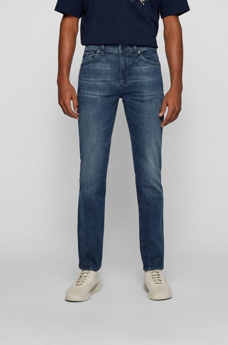 Graue Regular-Fit Jeans aus Super-Stretch-Denim, Dunkelblau