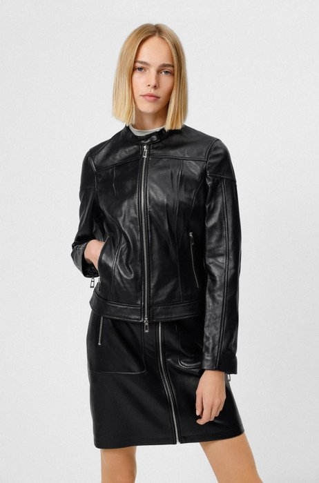Regular-Fit Lederjacke mit Reißverschlüssen, Schwarz