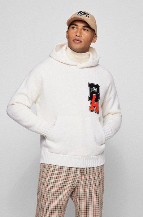 Hoodie aus Schurwolle mit exklusivem Logo, Weiß
