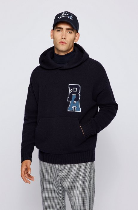 Hooded sweater in virgin wool with exclusive logo, Dark Blue