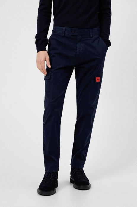 Pantalones slim fit con bolsillos con solapa y etiqueta con logo, Azul oscuro