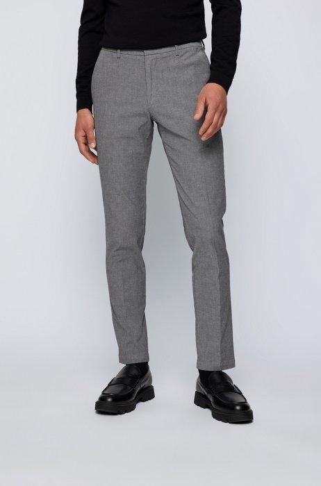 Komfortable Slim-Fit Chino aus zweifarbiger Stretch-Baumwolle, Grau