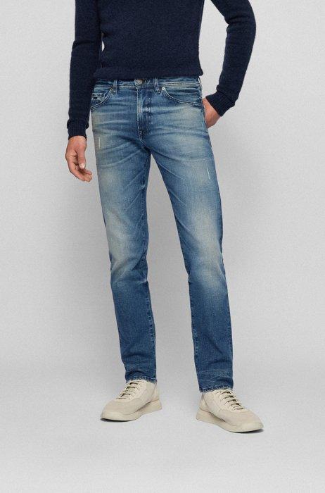 Jean Regular Fit en denim stretch confortable délavé, Bleu foncé