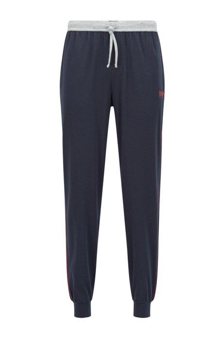 Pyjama-Hose aus Baumwoll-Mix mit Logo und Paspeln, Dunkelblau