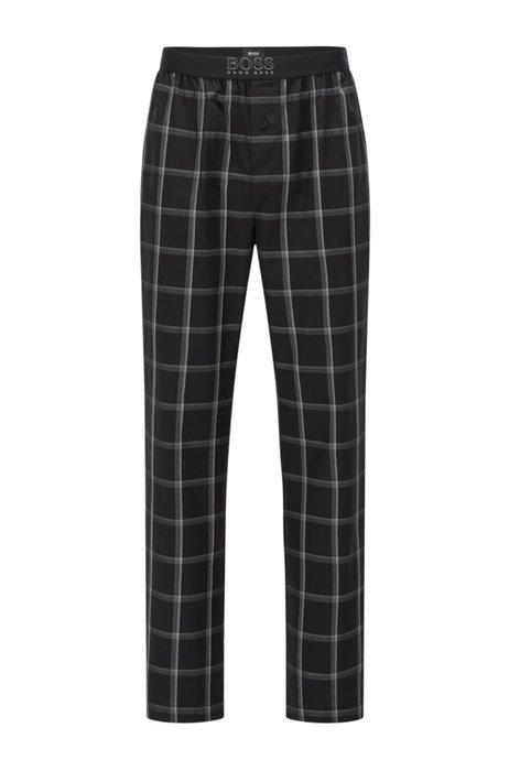 Pantalones de pijama de algodón a cuadros con logo en la cintura, Negro