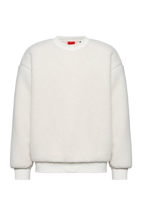 Oversized Sweatshirt aus Teddy-Fleece mit Logo-Label, Weiß