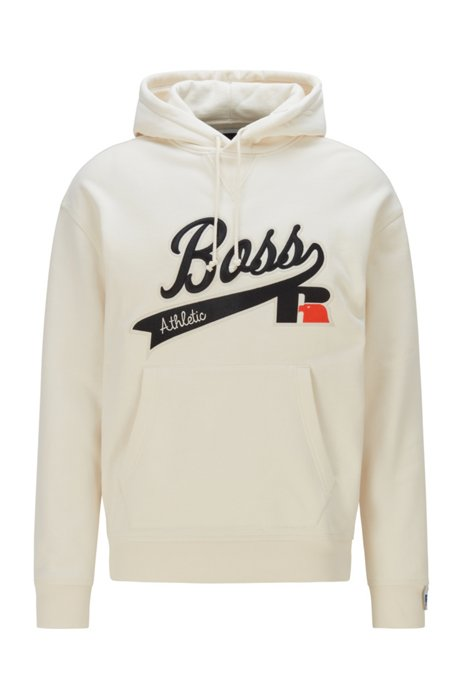 Cotton-blend hooded sweatshirt with exclusive logo, White