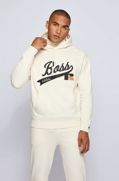 Kapuzen-Sweatjacke aus Baumwoll-Mix mit exklusivem Logo, Weiß