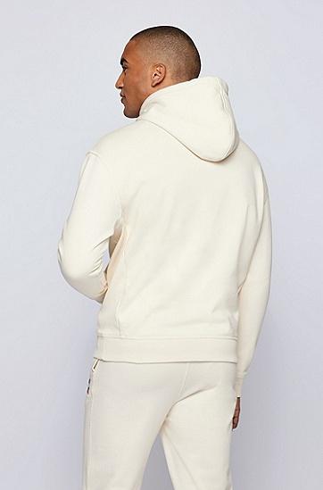 专属徽标装饰棉质混纺连帽运动衫,  118_Open White
