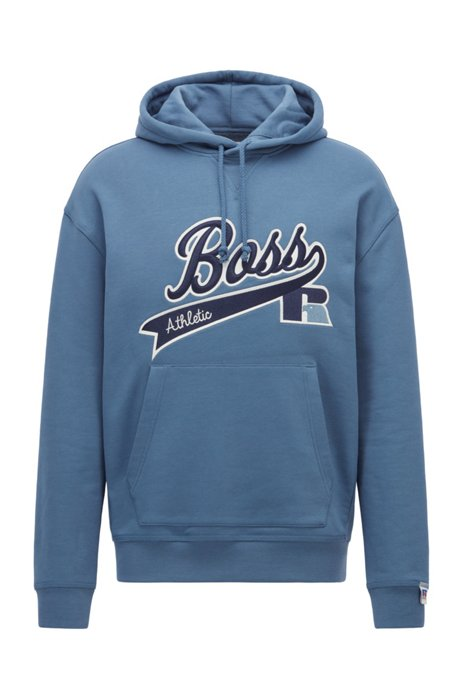 Cotton-blend hooded sweatshirt with exclusive logo, Blue
