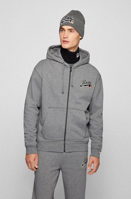 Kapuzen-Sweatjacke aus Baumwoll-Mix mit Reißverschluss und exklusivem Logo, Grau