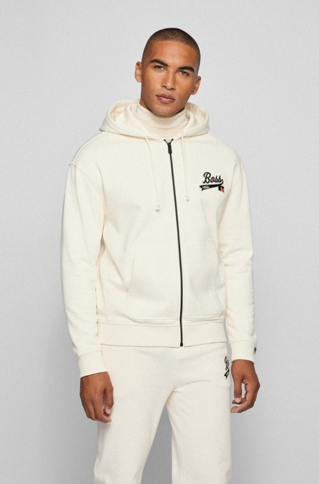 Cotton-blend zip-up hoodie with exclusive logo, White