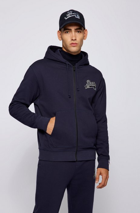 Cotton-blend zip-up hoodie with exclusive logo, Dark Blue