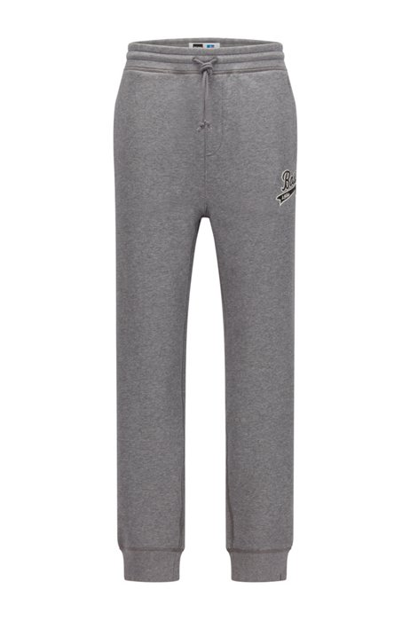 Cotton-blend tracksuit bottoms with exclusive logo, Grey