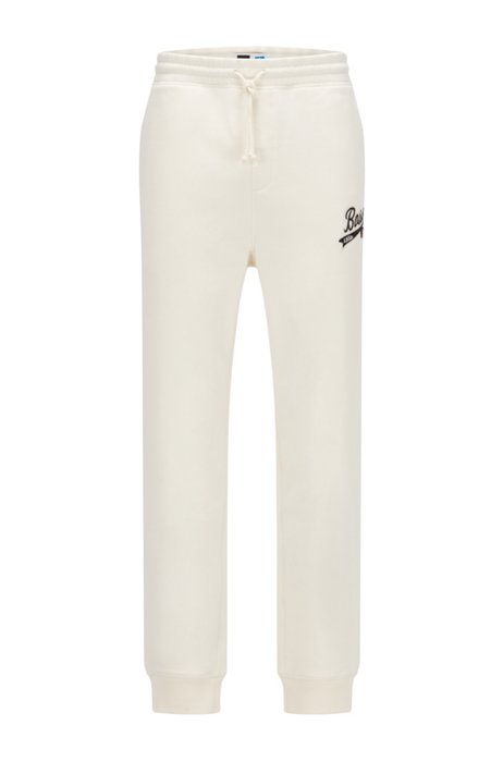 Cotton-blend tracksuit bottoms with exclusive logo, White