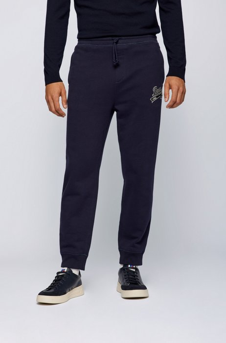 Cotton-blend tracksuit bottoms with exclusive logo, Dark Blue