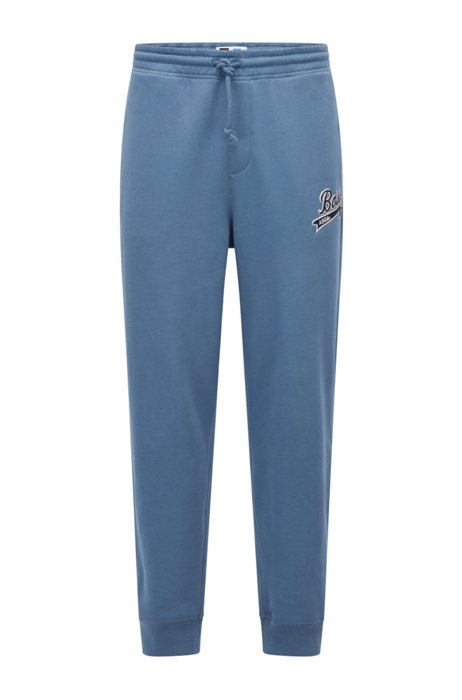 Cotton-blend tracksuit bottoms with exclusive logo, Blue