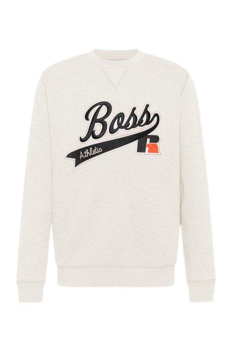 Cotton-blend sweatshirt with exclusive logo, White