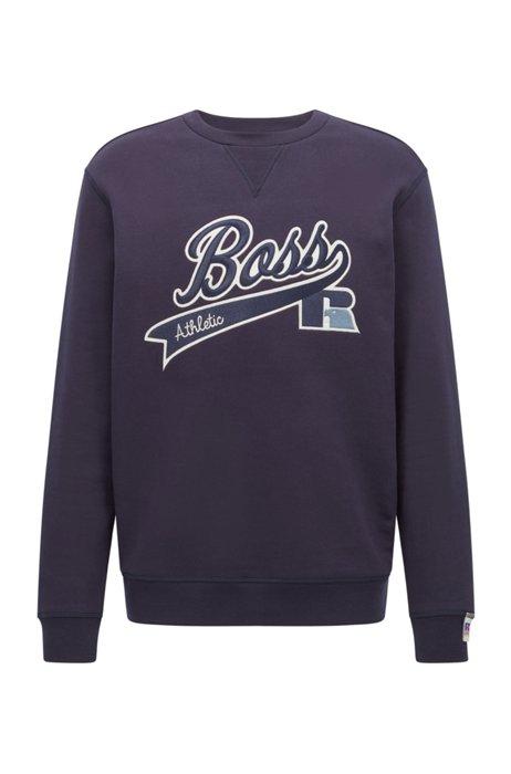 Exclusive-logo sweatshirt in a cotton blend, Dark Blue