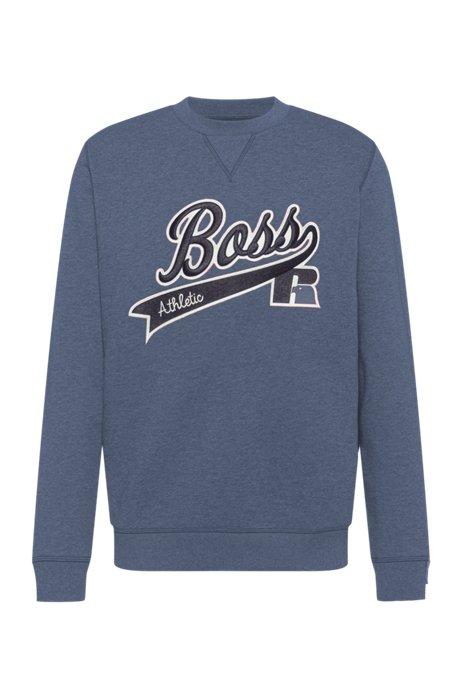 Cotton-blend sweatshirt with exclusive logo, Blue