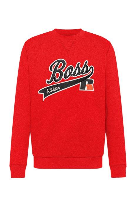 Cotton-blend sweatshirt with exclusive logo, Orange