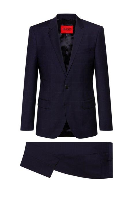 Slim-fit pak van scheerwol met microdessin, Donkerblauw