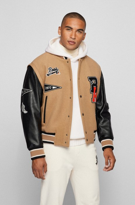 Wool-blend varsity jacket with branded patches, Beige