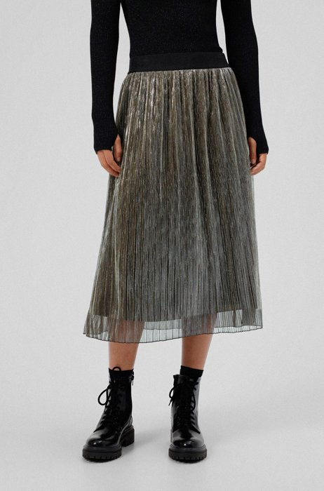 Plissé midi skirt with glitter effect, Patterned