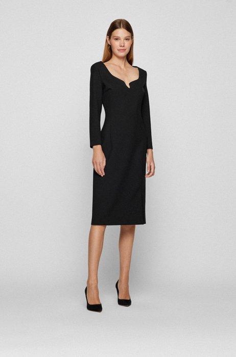 Slim-Fit Kleid mit LENZING™-ECOVERO™-Fasern., Schwarz