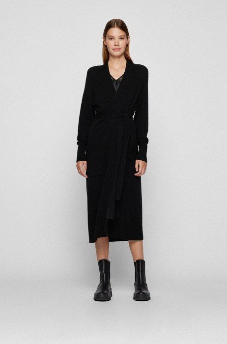 Abrigo relaxed fit de punto en lana virgen y cashmere, Negro