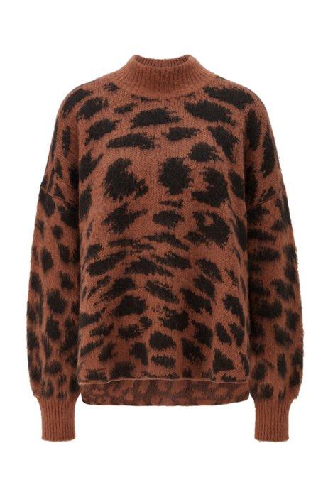 Relaxed-Fit Pullover mit Animal-Print Muster aus Jacquard und asymmetrischem Saum, Gemustert