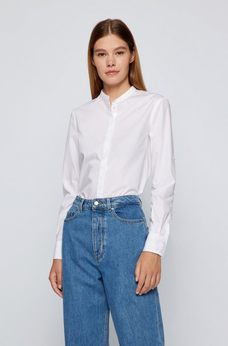 Relaxed-fit blouse in organic cotton, White