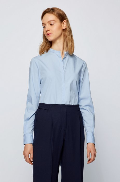 Relaxed-fit blouse in organic cotton, Light Blue