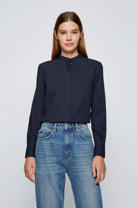 Relaxed-fit blouse in organic cotton, Dark Blue