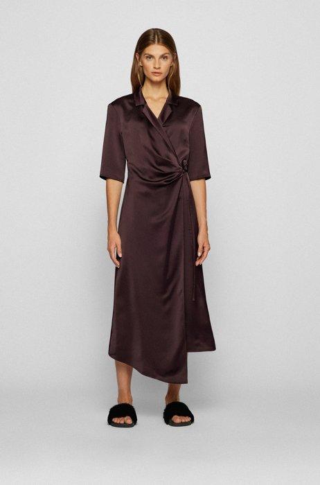 Wickelkleid aus Satin mit Bindegürtel, Dunkelrot