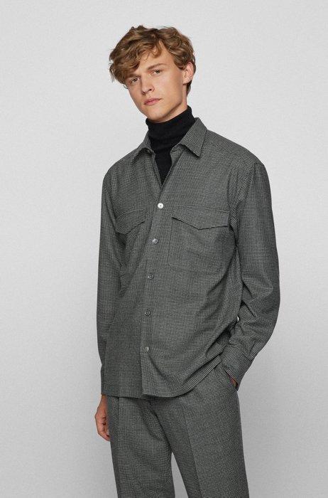Chemise Relaxed Fit en laine stretch italienne à motif pied-de-poule, Gris
