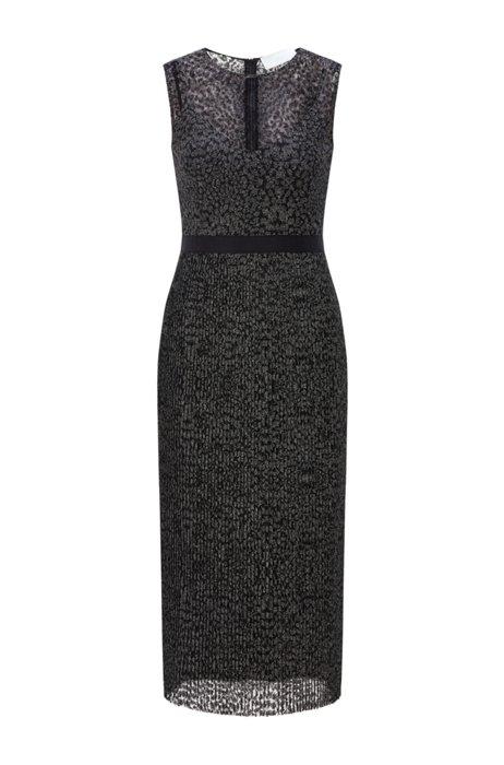 Ärmelloses Kleid aus besticktem Tüll mit Unterkleid, Schwarz gemustert