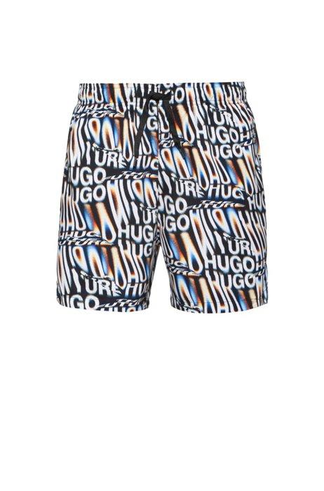 Seasonal-print quick-drying swim shorts with rubber logo, White