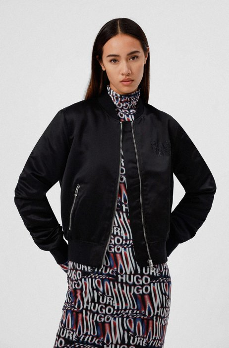 Relaxed-fit bomber jacket in satin with chest logo, Black