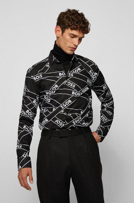 Camisa slim fit de algodón elástico con estampado de cintas con logo, Negro