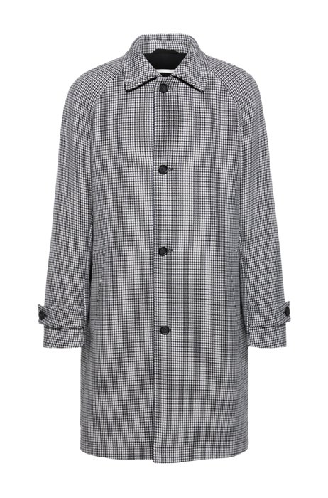 Regular-fit coat in stretch fabric with houndstooth motif, Grey