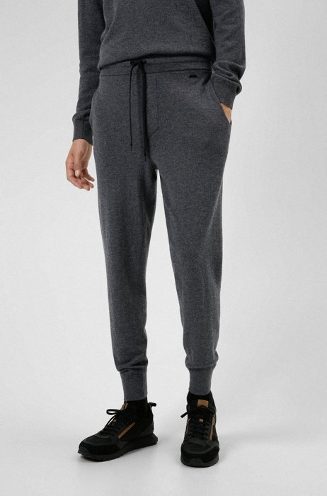 Regular-fit trousers in virgin wool and cashmere, Dark Grey