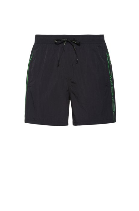 Quick-drying swim shorts with vertical cropped logo, Black