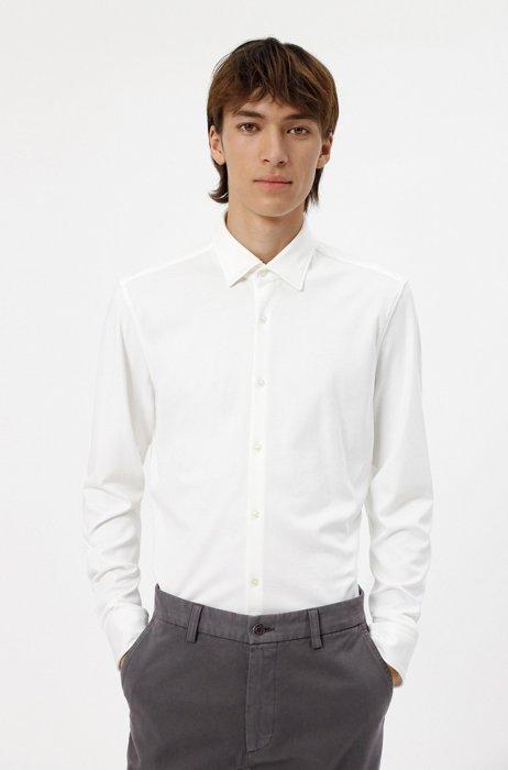 Chemise Slim Fit en jersey de coton, Blanc